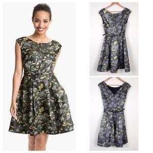 Eliza J Metallic Gold Grey Fit Flare Dress Size 8